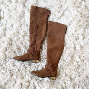 F21 Brown Suede Over the Knee Boots sz 8